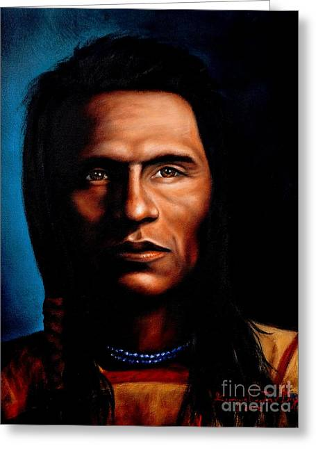 Native American Indian Soaring Eagle Greeting Card by Georgia Doyle  brushhandle