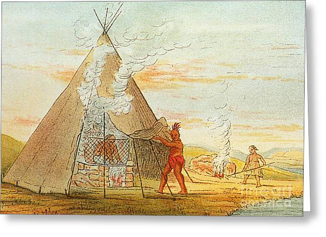 Sweat Greeting Cards - Native American Indian Sweat Lodge Greeting Card by Science Source