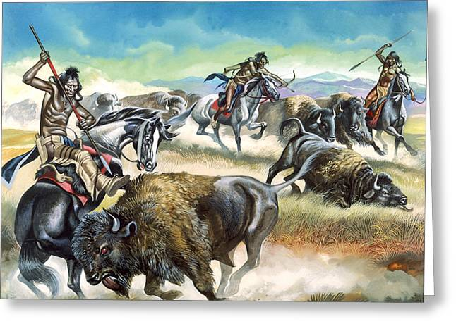 Native American Indians killing American Bison Greeting Card by Ron Embleton