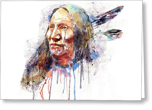 Native American Portrait Greeting Card by Marian Voicu