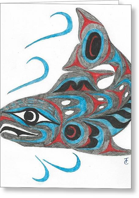 Salmon Paintings Greeting Cards - Native American Salmon Greeting Card by Tara Chant