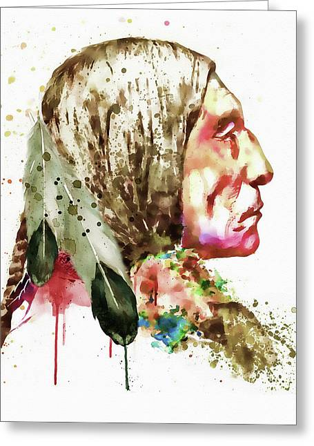 Native American Side Face Greeting Card by Marian Voicu
