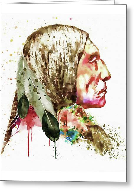 For Modern Decor Greeting Cards - Native American Side Face Greeting Card by Marian Voicu