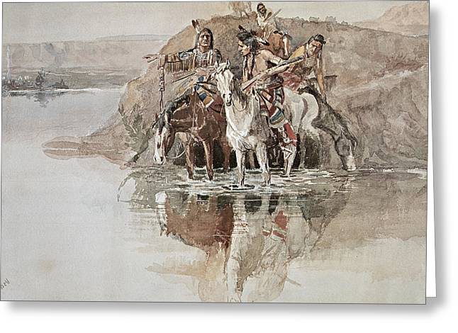 Native American War Party Greeting Card by Charles Marion Russell