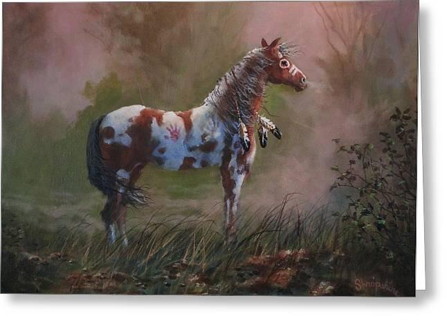 Native American War Pony Greeting Card by Tom Shropshire