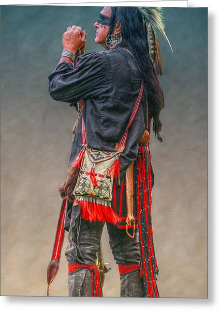 Native American Warrior Portrait  Greeting Card by Randy Steele