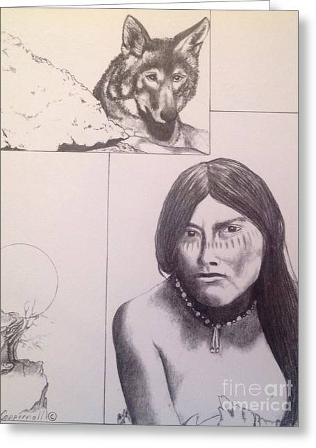 Wild Life Drawings Greeting Cards - Native American Woman Greeting Card by Jacquelyn Coppernoll