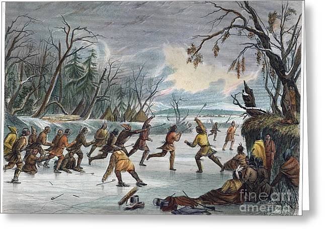 Lacrosse Greeting Cards - Native Americans: Ball Play, 1855 Greeting Card by Granger
