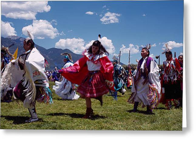Native Americans Dancing, Taos, New Greeting Card by Panoramic Images