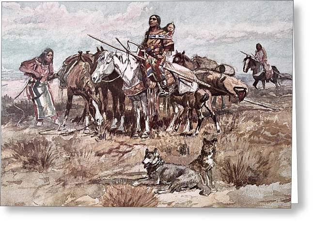 Native Americans Plains People Moving Camp Greeting Card by Charles Marion Russell