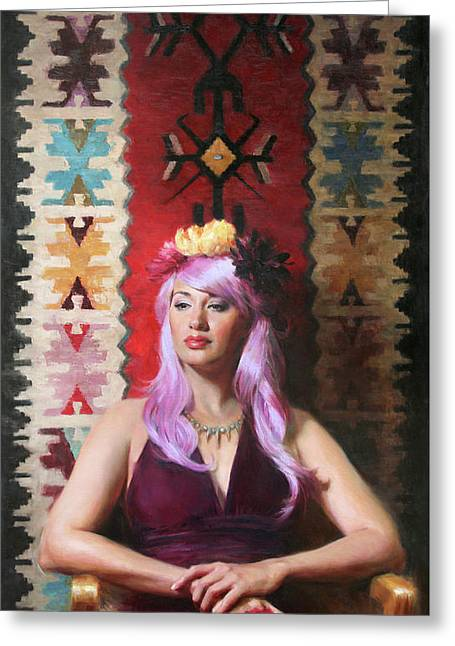 Native Daughter Modern Woman Greeting Card by Anna Rose Bain
