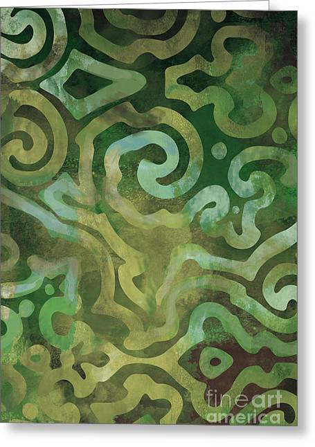 Native Elements In Green Greeting Card by Mindy Sommers