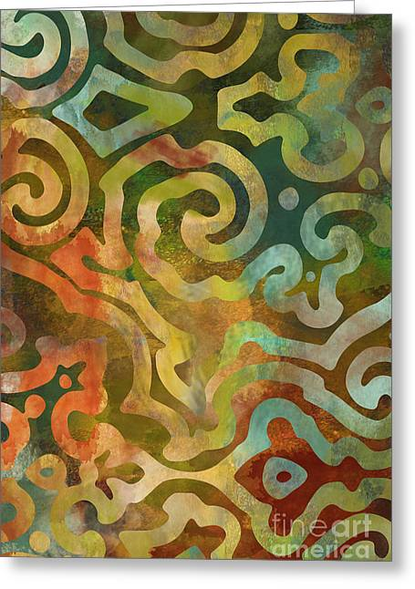 Earth Tone Art Greeting Cards - Native Elements Multicolor Greeting Card by Mindy Sommers