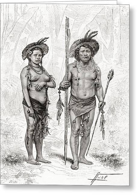 Ethnic Drawings Greeting Cards - Native Indians From Rio Branco, South Greeting Card by Ken Welsh