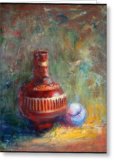 Softball Paintings Greeting Cards - Native Pottery Greeting Card by Nabil Merza