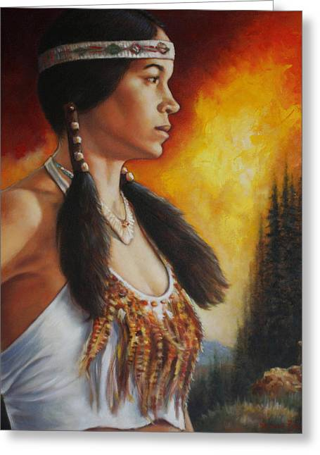 Native American Woman Greeting Cards - Native Pride Greeting Card by Harvie Brown