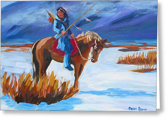 Sean Horse Greeting Cards - Native Rider Greeting Card by Sean Boyce