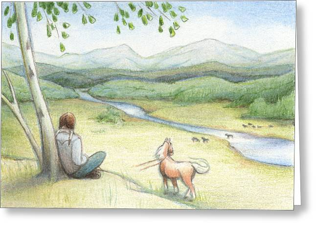 Aceo Drawings Greeting Cards - Native Son Greeting Card by Amy S Turner
