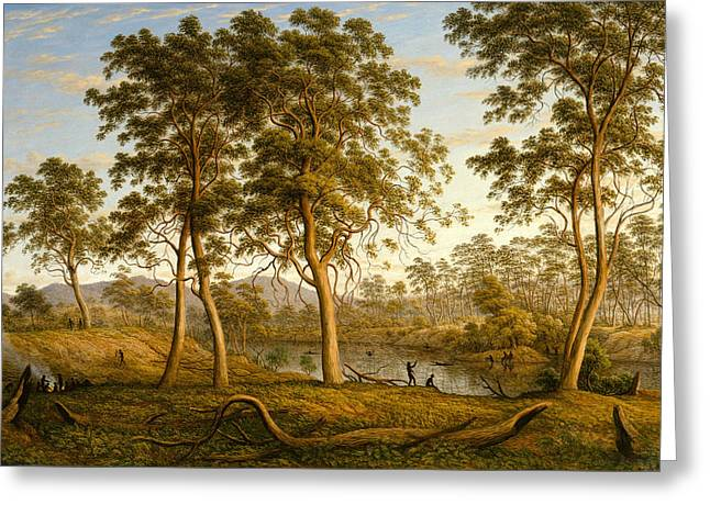 Natives On The Ouse River, Van Diemen's Land Greeting Card by John Glover