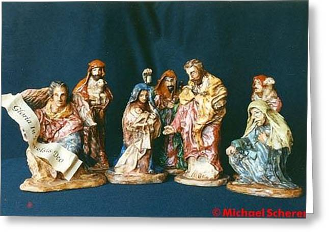 Ceramics Greeting Cards - Nativity Greeting Card by Michael Scherer