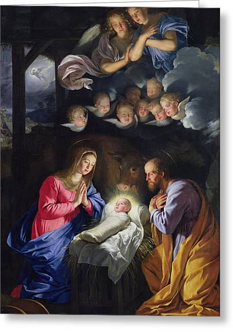 Seraphim Angel Paintings Greeting Cards - Nativity Greeting Card by Philippe de Champaigne