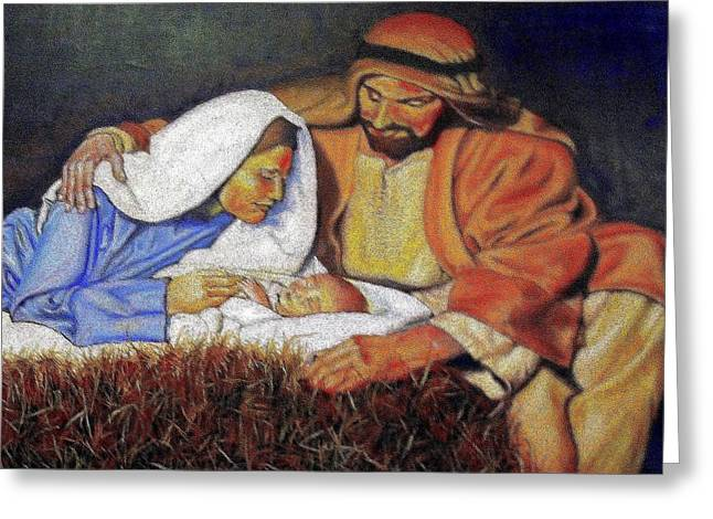 Baby In A Manger Greeting Cards - Nativity Scene Greeting Card by G Cuffia