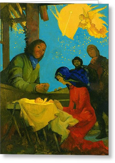 Nativity Scene Greeting Card by George Adamson