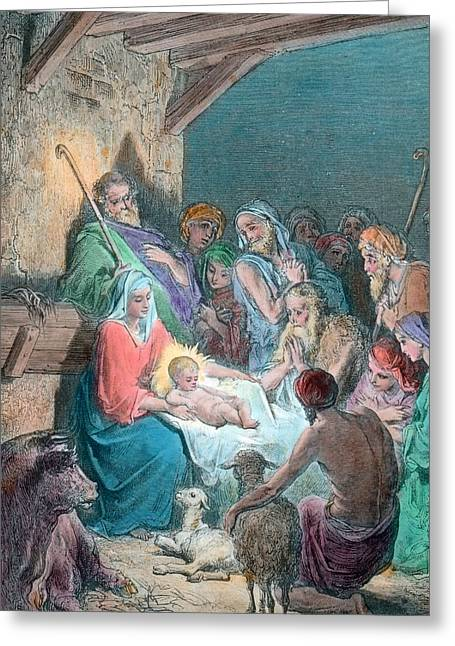 Nativity Scene Greeting Card by Gustave Dore