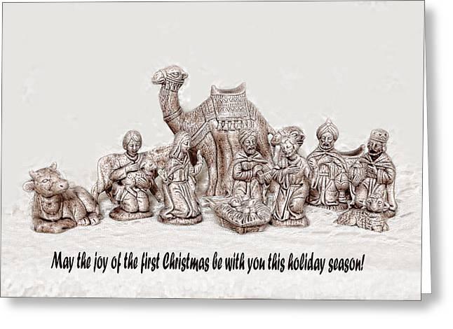 Baby Jesus Digital Art Greeting Cards - Nativity Scene in Sepia Greeting Card by Linda Phelps