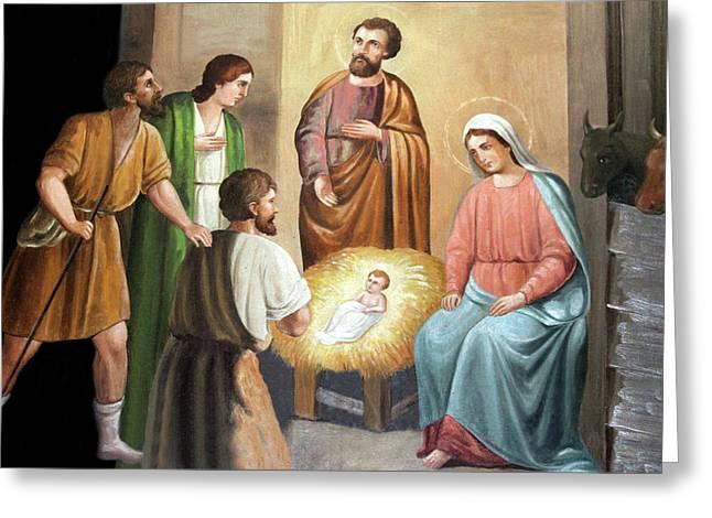 Nativity Scene Painting At Nativity Church Greeting Card by Munir Alawi