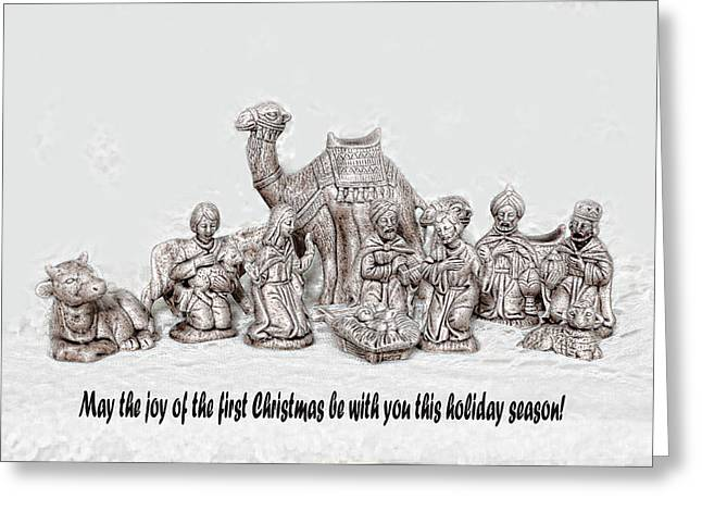 Nativity Scenne Sketch Greeting Card by Linda Phelps