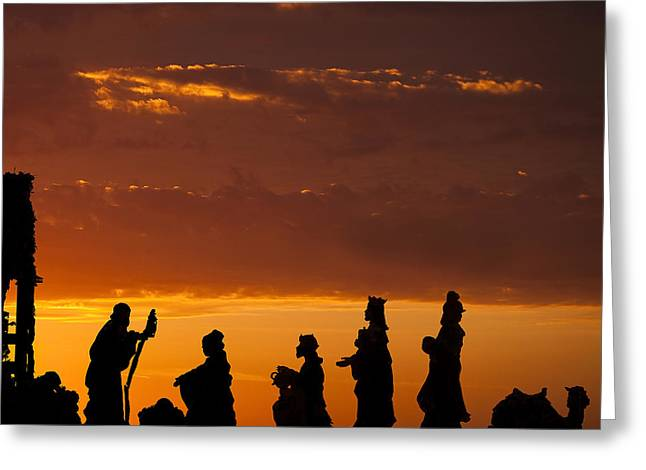 Stable Greeting Cards - Nativity Sunrise Greeting Card by Andrew Soundarajan