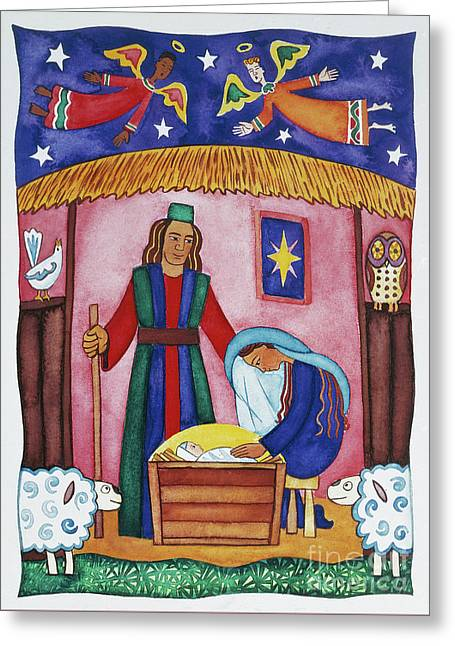 Nativity With Angels Greeting Card by Cathy Baxter