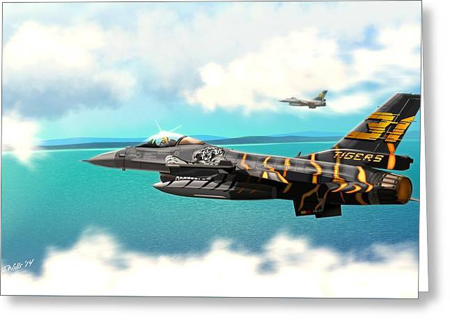 Jet Art Greeting Cards - Nato Belgian Air Force 31 F16  Greeting Card by John Wills