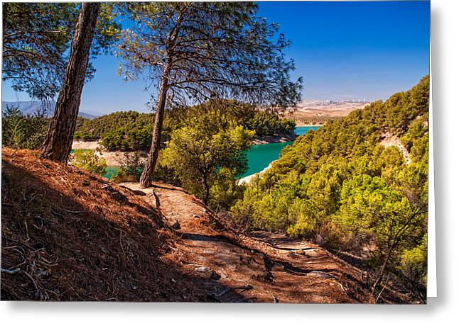 Blue Green Water Greeting Cards - Natural Beauty of El Chorro. Spain Greeting Card by Jenny Rainbow