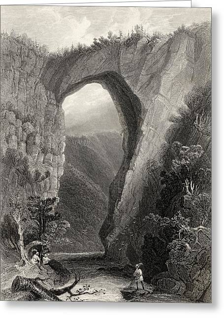 Americana Drawings Greeting Cards - Natural Bridge Virginia Usa From A 19th Greeting Card by Ken Welsh