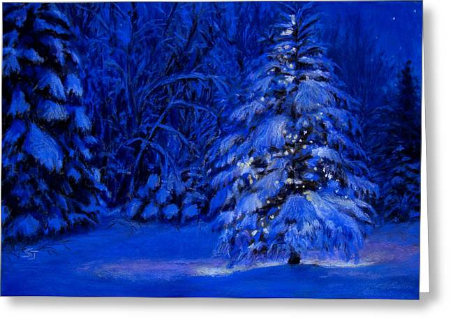 Christmas Pastels Greeting Cards - Natural Christmas Tree Greeting Card by Susan Jenkins