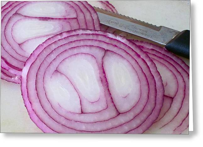 Onion Greeting Cards - Natural Flavor Greeting Card by Gwyn Newcombe