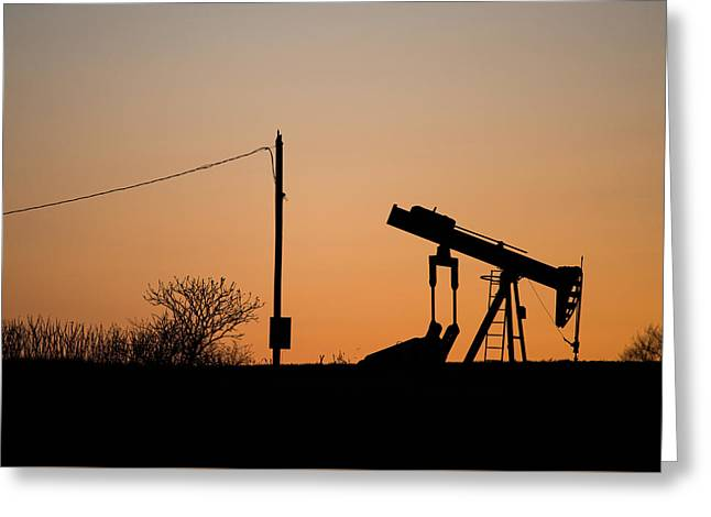 Power Plants Greeting Cards - Natural Gas Pump Silhouette  Greeting Card by Matt Hammerstein