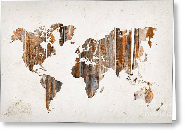 Planet Map Greeting Cards - Natural planks world map Greeting Card by Delphimages Photo Creations