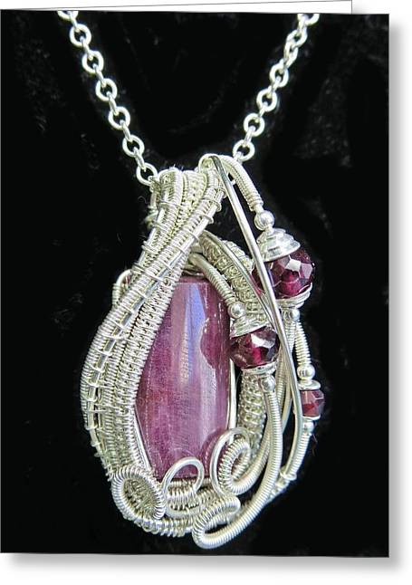 Wrap Jewelry Greeting Cards - Natural Ruby Gemstone Wire-Wrapped Pendant in Sterling Silver with Rhodolite Garnet RBPSS1 Greeting Card by Heather Jordan
