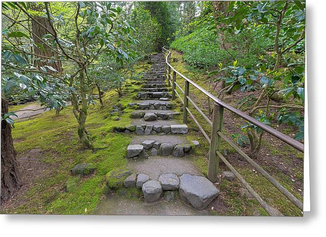 Stepping Stones Greeting Cards - Natural Stone Steps in Japanese Garden Greeting Card by Jpldesigns