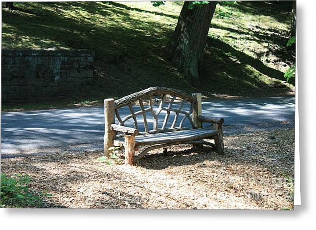 Sit-ins Greeting Cards - Natures Bench Greeting Card by John Telfer