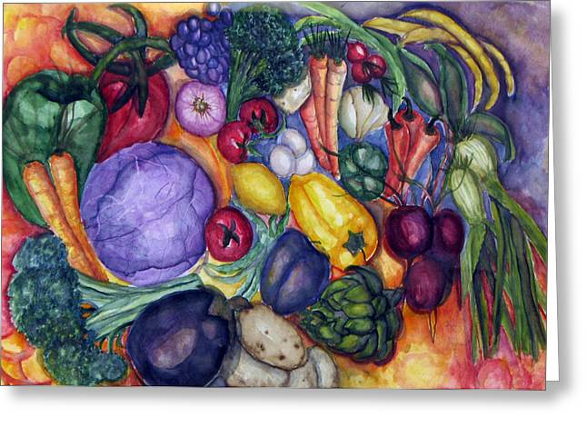 Broccoli Paintings Greeting Cards - Natures Bounty Greeting Card by Patricia Merewether