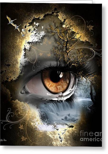Tears Greeting Cards - Natures eye Greeting Card by Ali Oppy