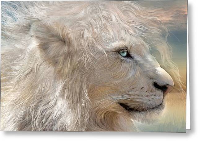African Lion Art Greeting Cards - Natures King Greeting Card by Carol Cavalaris