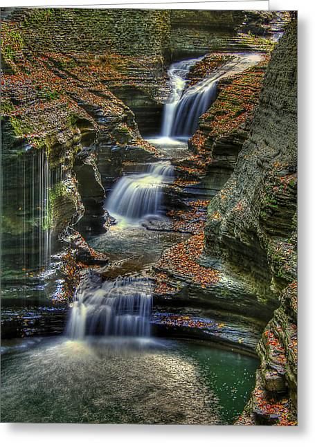 Glen Creek Greeting Cards - Natures Tears Greeting Card by Evelina Kremsdorf