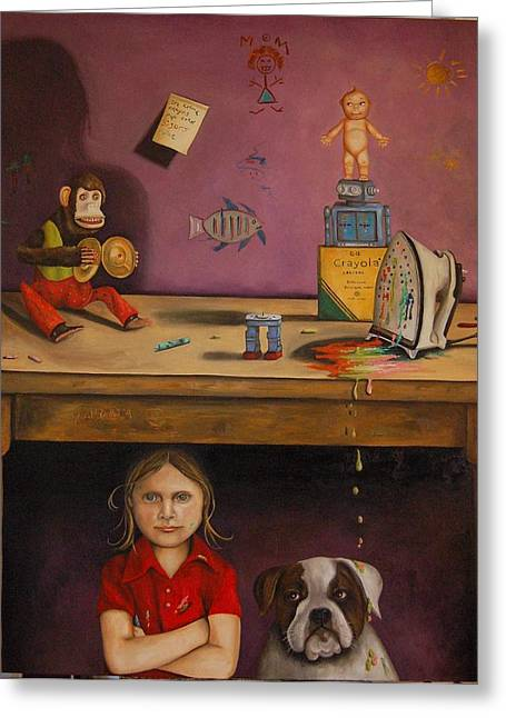 Interior Still Life Paintings Greeting Cards - Naughty Child Greeting Card by Leah Saulnier The Painting Maniac