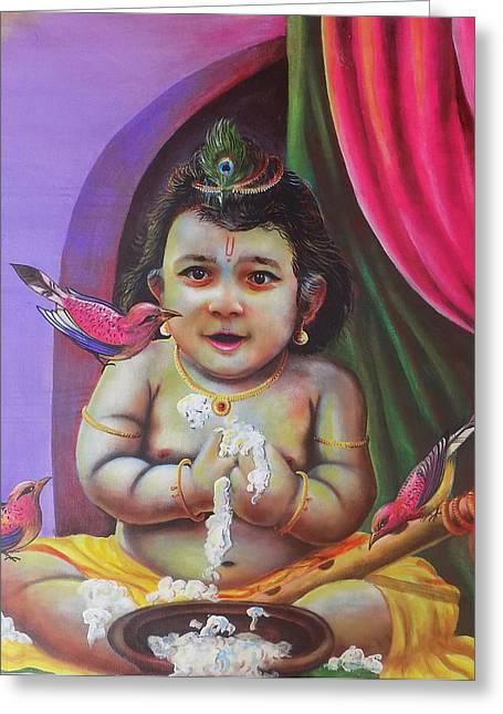 Naughty Little Baby Krishna  Greeting Card by Arun Sivaprasad