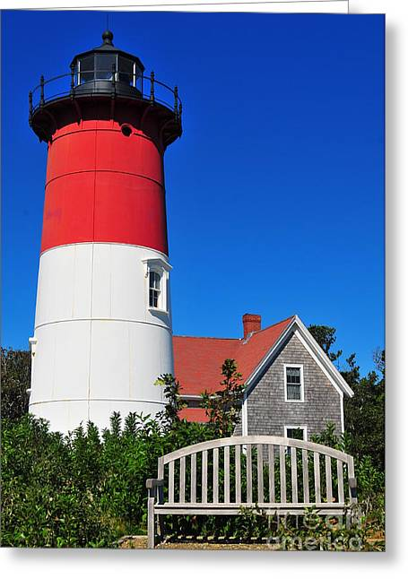 Cape Cod Mass Greeting Cards - Nauset Light Greeting Card by Catherine Reusch  Daley